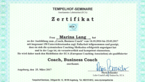 Zertifikat Business Coach ECA